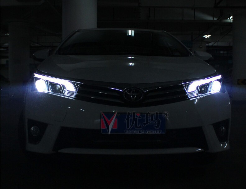 Auto Clud 2014 2015 for toyota corolla headlights LED guide DRL tears eyes car styling H7 bi xenon lens parking head lamps