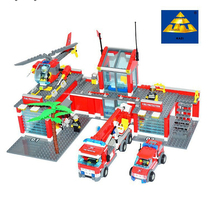 KAZI 774pcs Fire Station Helicopter Truck FireFighter Minifigurers Building Block Kids Educational Toys Compatible with legodt