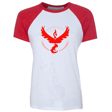 Pokemon Go 2016 New Summer Fashion Team Valor Team Mystic Round Neck Short Sleeve Patchwork Casual Women T-Shirt Tees