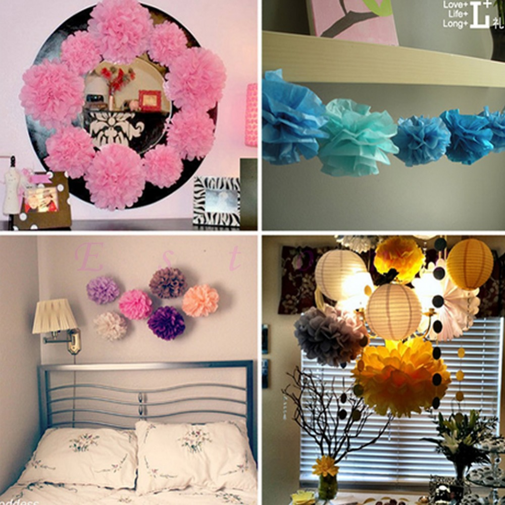 "A96 Free Shipping 10pcs/lot 6"" Tissue Paper Pom Flowers Balls Wedding Birthday Party Decor(China (Mainland))"