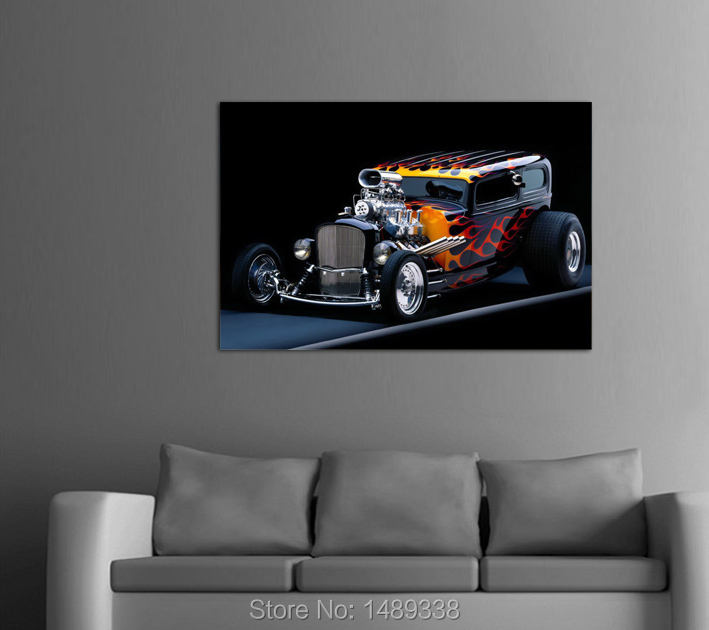 framed printed hot rod car picture painting wall art childrens room decor