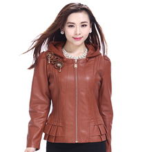 2015 spring autumn women's clothing leather jacket large size 4XL small thin leather coat outerwear women's coat(China (Mainland))