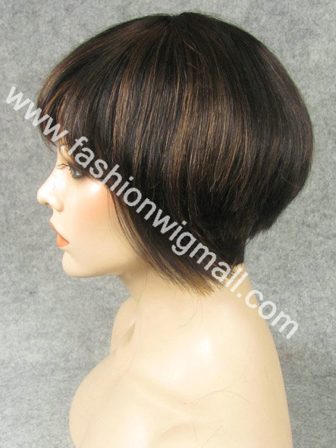 Free Shipping 8 #1B/30 Highlighted Black 100% Human Hair Machine Made Short Capless Wig Make Any Style Freely Yourself<br><br>Aliexpress