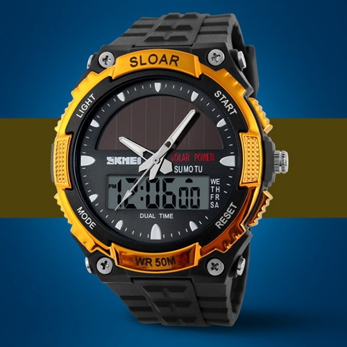 2015 New Solar Power LED Digital Electronic Watch Men Sport Watches 5ATM Waterproof Casual Dress Military