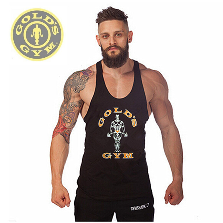 Golds Gym Tank Top Men Sleeveless Shirt Bodybuilding Stringer Fitness Men's Cotton Sports Singlets Muscle Clothes Plus Size Vest(China (Mainland))