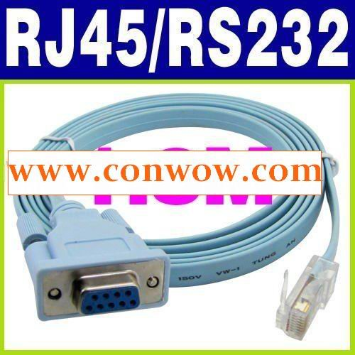 Wholesales,Free Shipping, 1.5M RJ45 to RS232 RS-232 DB9 9 pin LAN Router Cable(China (Mainland))