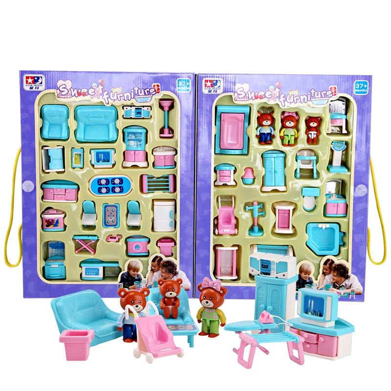 Miniature Dollhouse Plastic Furniture Toys Set 41 Pieces Roll Play Games Toy Living Dining Room Bedroom Bathroom Furniture Safe(China (Mainland))