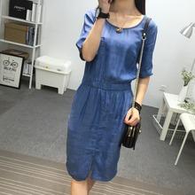 New Summer Style Soft Cotton Casual Women Denim Jeans O-Neck Half Sleeve Dresses Tunic Waist Tank Super Dress Vestidos(China (Mainland))