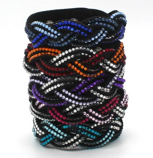 Fashion Crystal Rhinestone Bracelet Gradient Color Bracelet Hand Braid Lady Bracelet Button Adjustable(China (Mainland))