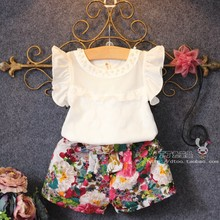 2015 New Arrival Fashion Raglan Sleeve O-neck Patchwork Sleeveless Girls Knitted Children's Sets