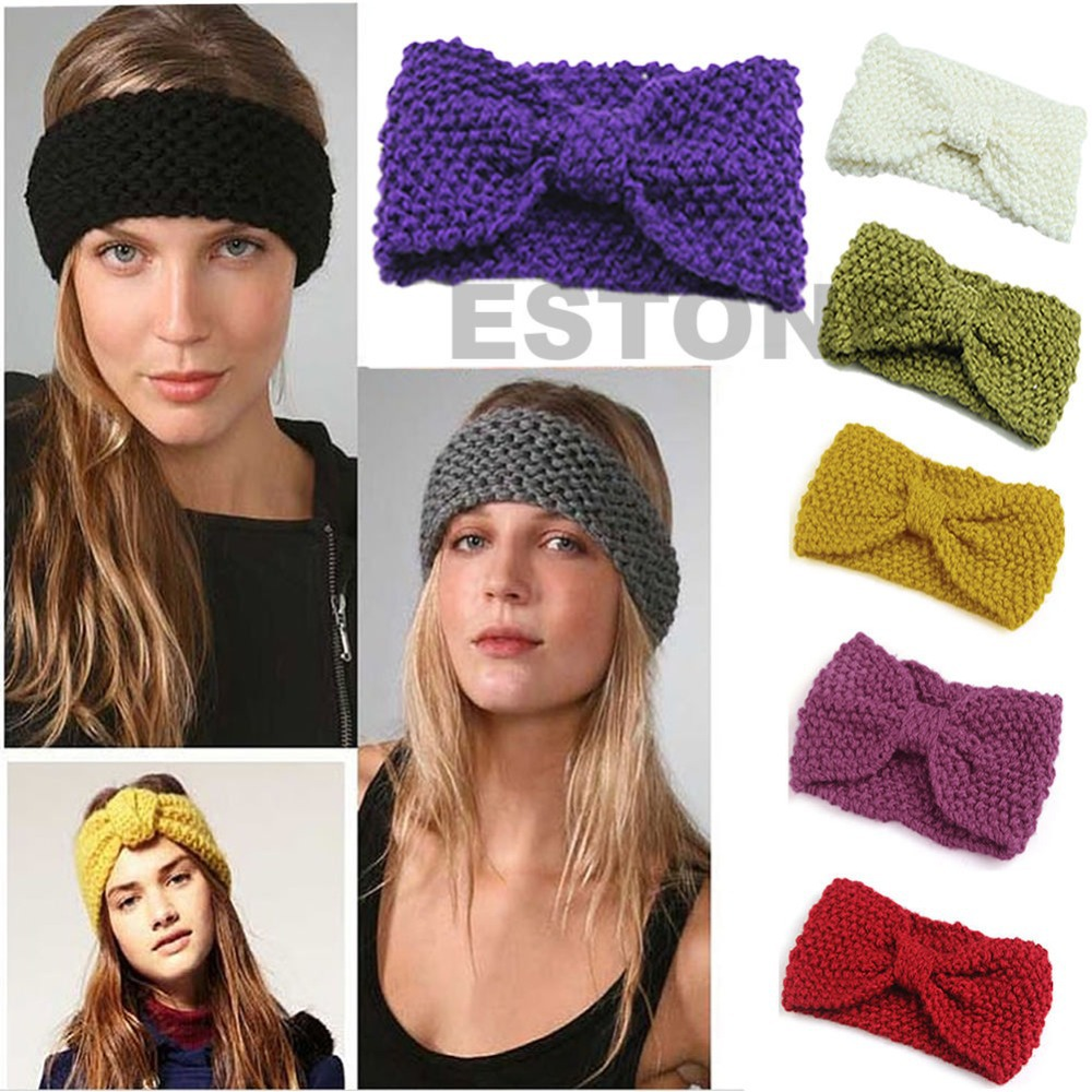18 Colors Chic Women's Crochet Bow Flower Knitted Headwrap Ear Headband Warmer(China (Mainland))