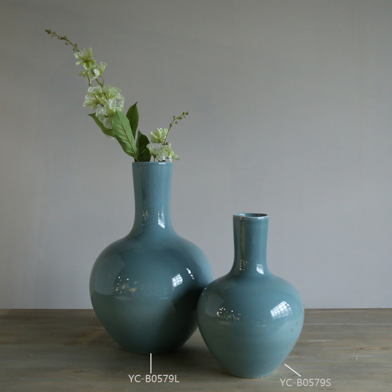 Simple Artistic Decorative Cyan Flower Vases Chinastyle