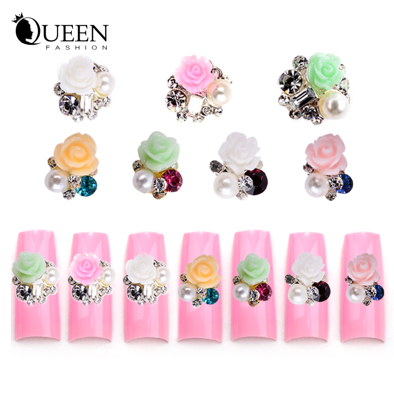 Rhinestone Alloy Flowers 3d Nail Art Decorations,7Designs(1) Metal Glitter DIY Beauty Supplies Accessories Jewelry - Fashion Queen Accessory Co. , Ltd store