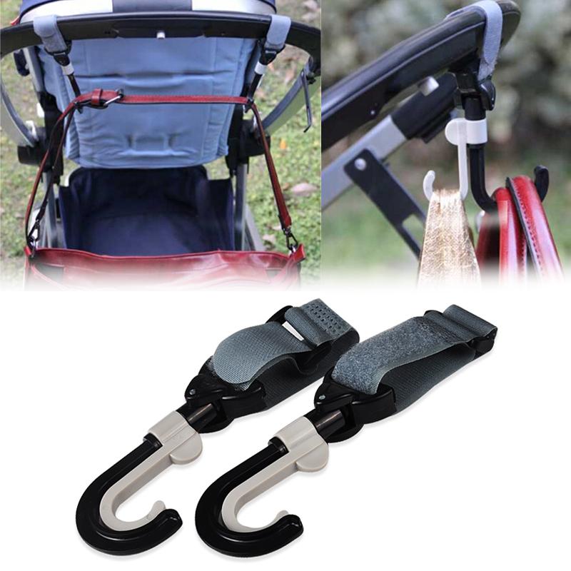 2014 Hot Stroller Hook Hanger Pothook Baby Stroller Pram Double Rotate Hook Pushchair Hanger Stainless Steel Shaft(China (Mainland))