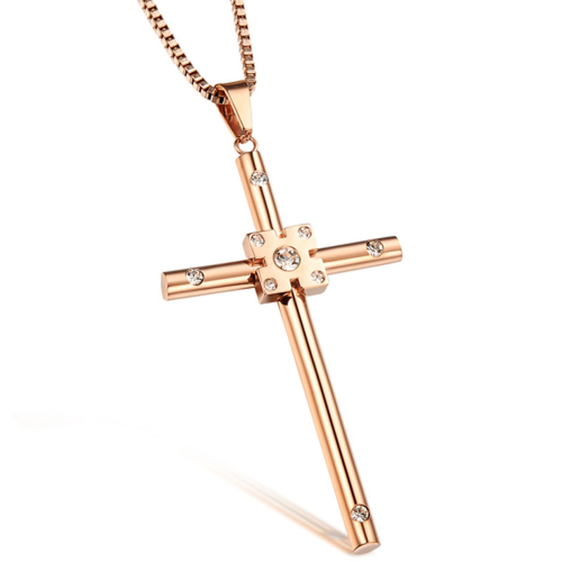 Wholesale 2015 Colar Rose Gold Plated Cross Chain Female Cubic Zirconia Necklace Pendant Fashion Fine Jewelry Hot Sale GX912(China (Mainland))