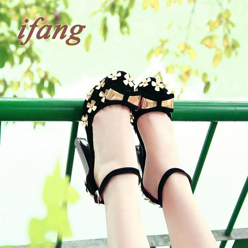 Plus size 34-39 Summer Women Sandals Fashion Thick High Heels Party Shoes T-Strap Rome Style Ladies Beach  Women Bow Sandals <br><br>Aliexpress