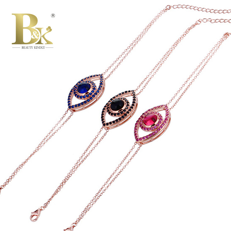 925 Sterling Silver Punk Evil Eye Bracelet For Woman Gold Plated Chain 3 Natural Stone Friendship Eye Bracelet 2015 Fine Jewelry(China (Mainland))
