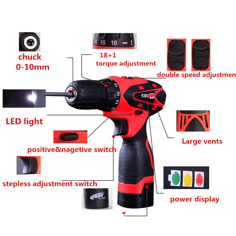 12V Electric Screwdriver 2 speed Cordless Screwdriver Lithium Battery Electric Drill Household Electric Screwdriver Power Tools(China (Mainland))