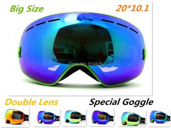 Новый стиль подлинная лыжные очки с двойными анти-туман большие сферические профессиональные лыжные очки женщины-многоцветный снег защитные