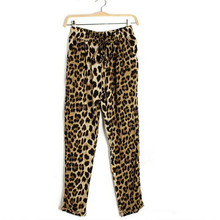 New Fashion Big Size Elastic Waist Band Draw String with Loose Leisure Leopard Haroun Pants(China (Mainland))