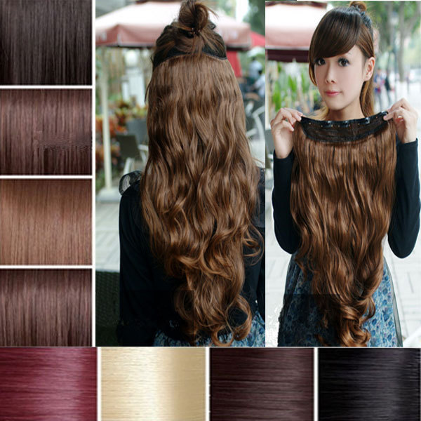 "1PCS Natural Hair Extension 27"" 68cm 145g Women Long Wavy Clip in Hair Extensions Multi-color Heat Resistance Wholesale(China (Mainland))"