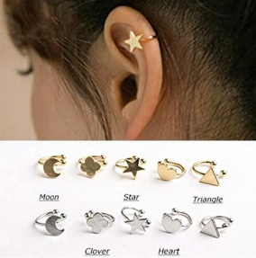 New Fashion star moon heart clip stud earring gift for women girl Wholesale E2644(China (Mainland))
