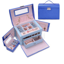 Multilayer PU Leather Jewelry Storage Box Necklace Earrings Display Organizer Case Jewellery Container Gifts for Women Girls(China (Mainland))