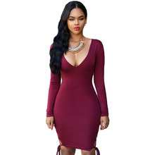 New women autumn spring long sleeve sexy clubwear 3 colors deep v-neck mini dress sexy lace up sides bodycon dress 60806(China (Mainland))