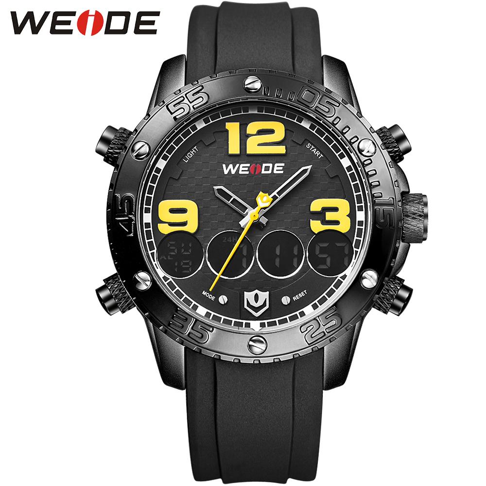 WEIDE Big Dial Sport Watch Luxury PU Strap Digital Quartz Dual Movement Multi-Functional 3ATM Waterproof Army Brand New Watches<br><br>Aliexpress