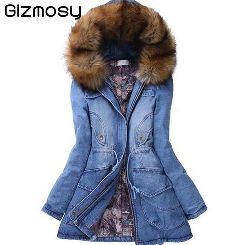 Winter Jacket Women Thicken Cowboy Parka Warm Slim Plus Size Fur Collar Winter Coat Women Parka 2015 Brand BN595(China (Mainland))