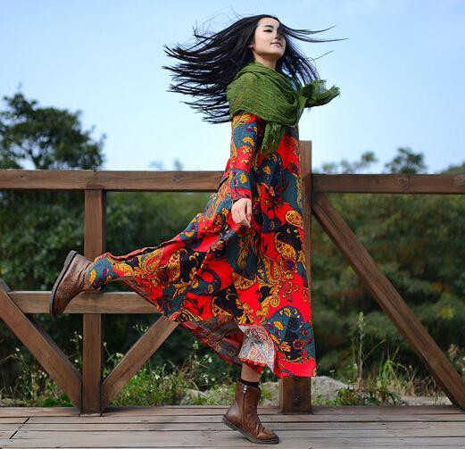 Spring New Women Vintage Maxi Dress Cotton Linen Folk Style Literary long Sleeve O-neck Irregular Oversize Printed Dress 2015(China (Mainland))