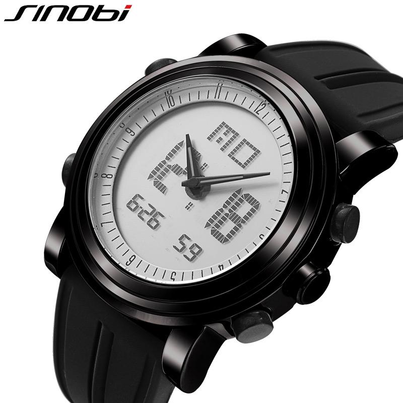 SINOBI Brand Men Sports Electronic Watches Men's Casual Silicone Waterproof Digital Watch Multifunction Dual Time Military Watch(China (Mainland))