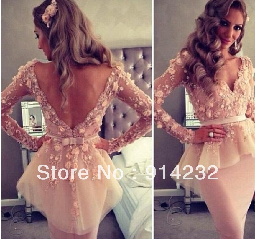 2013 Myriam Fares Friend Tube Deep V Neck Long Sleeves Lace Flowers Ruffles Knee Length Celebrity Evening Dresses Gowns - impressionroom store