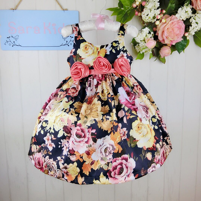Wholesale difference floral print pattern with three rose in sashes ball gown dress party dress 20140429