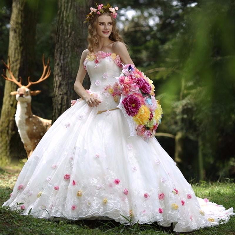 colourful flowers ball gown new design vestido de festa debutante sexy flowers organza wedding dresses 2017
