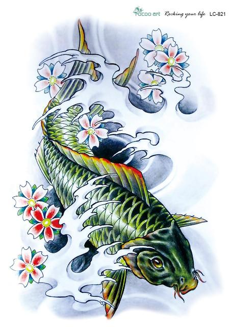 LC2821 21*15cm 3D Large Big Tatoo Sticker Sketch Green Fish Drawing Designs Cool Temporary Tattoo Stickers High Resolution