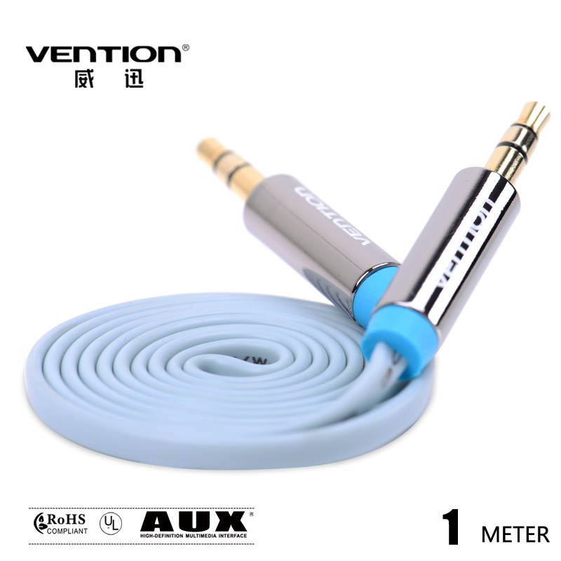 Vention flat Blue Audio Cable 3.5mm to 3.5 mm jack aux cable for car 1M/3FT FOR Headphone/PC/MP3/DVD/HDTV/Mobilephone(China (Mainland))