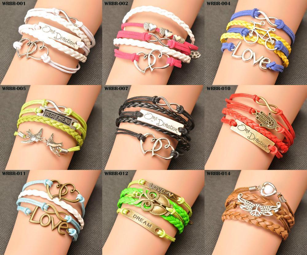 Hot Sale Wholesale Fashion Vintage Anchors Rudder Rectangle Leather Bracelet Multilayer Bracelets For Women Gift WRBR-001(China (Mainland))