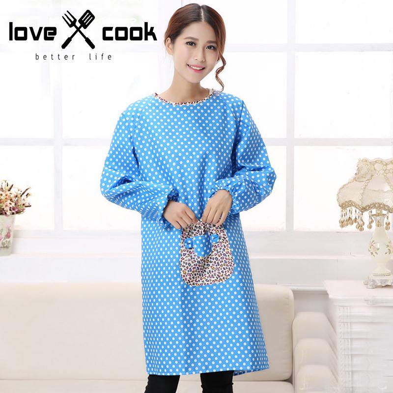 Korean Long Sleeve Apron Waterproof Women Smock Apron Adult Overclothes Working Clothes Dustcoat Kitchen Cleaning Clothes Tools(China (Mainland))