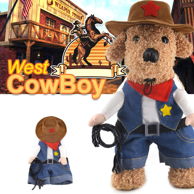 Free Shipping Funny Halloween Pet Cat Dog West Cowboy Dress Pirate Costume Corsair Clothes Police Uniform Pets Coat(China (Mainland))