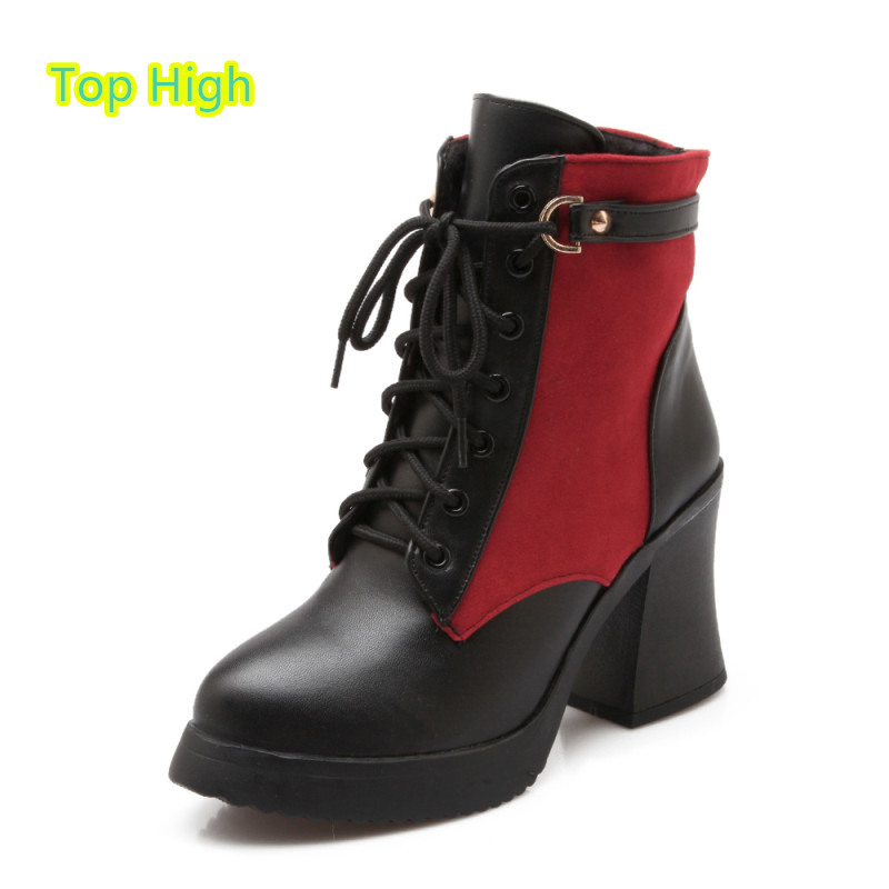 Big Size Platform Square High Heels Boots Lace Up Chunky Heel Ankle Boots for Women 2015 Fashion Mixed Colors Boots botas Mujer