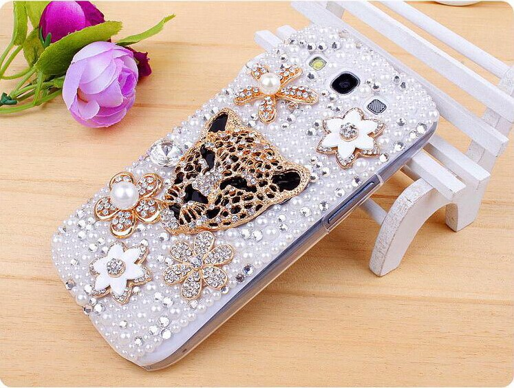 Rhinestone Mobile Phone Case For Samsung S3 Galaxy I9300 S4 I9500 For Iphone 4 4s 5 5s 5c Leopard Diamond Protective Shell(China (Mainland))