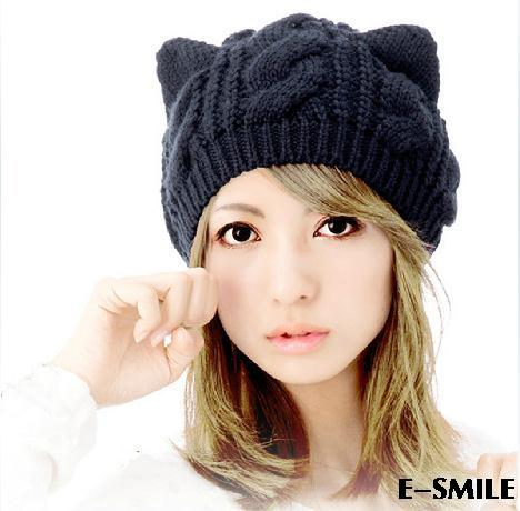 Cat Ears Cute Hats women brand knitting warm 2014 korean fashion hot selling lovely Beanies Winter knitted Cap Freeshipping - one joy store