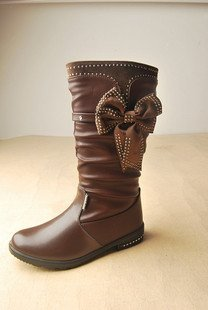 Children leather boots, large size, generous brown diamond flower girl shoes boots size33-38,3colors, 50%discount by UPS
