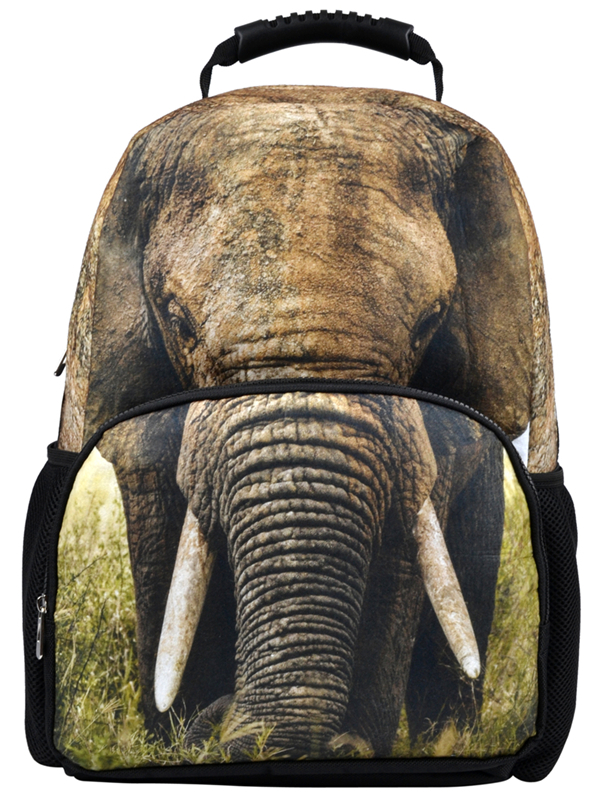 VEEVAN 2016 Elephant Printing Backpacks 3D Felt Animal Backpack Fashion Teenager Colleague Bags Casual Men's Backpack Female(China (Mainland))