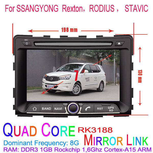 1024*600 Quad Core Android 4.4.4 Fit SSANGYONG Rexton, RODIUS, STAVIC Car DVD Player GPS TV 3G Radio(China (Mainland))