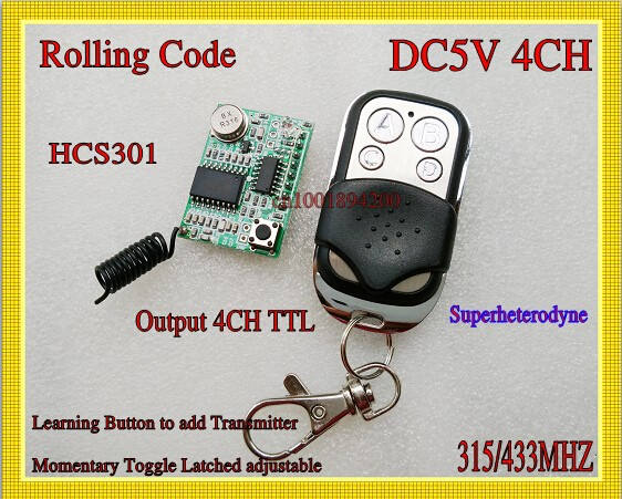 Rolling Code RF Receiver Transmitter 5V 4CH Receiver Module TTL 315/433mhz Radio Wireless Remote Controller HCS301 Rolling Code(China (Mainland))