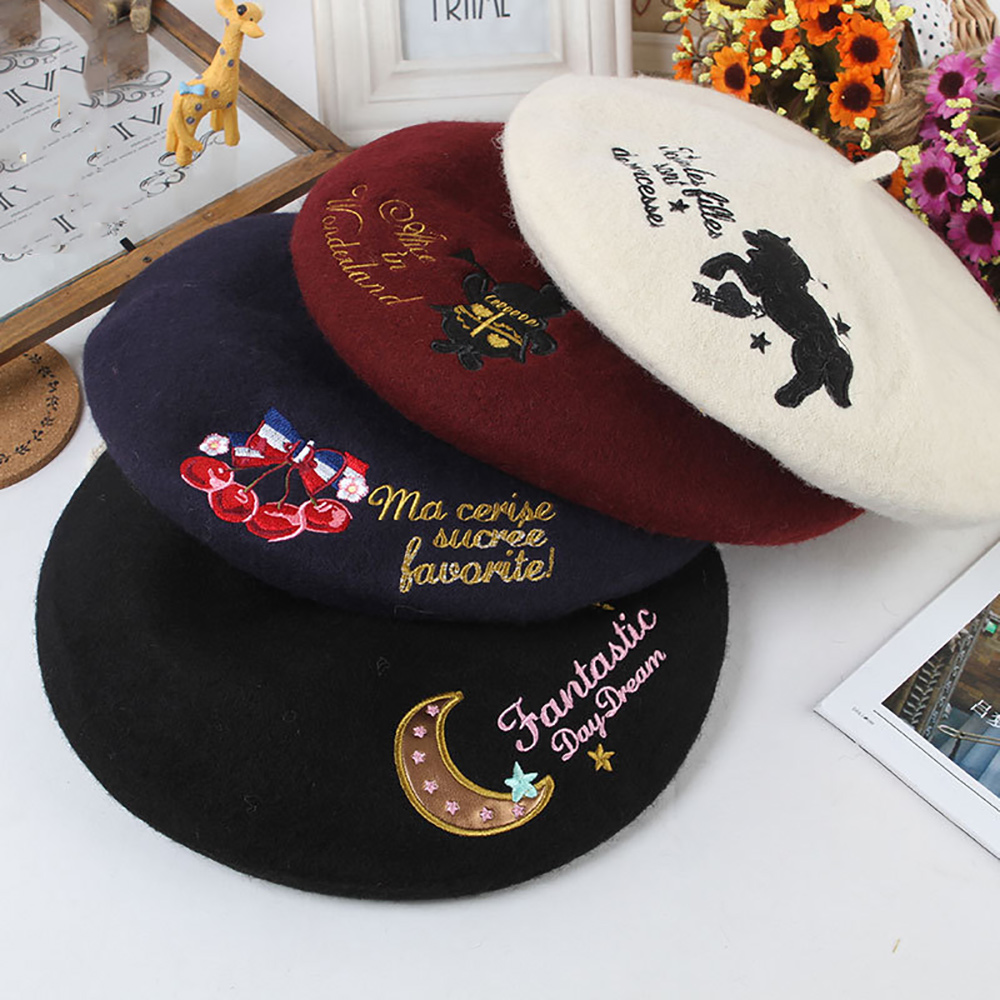 2017 new Princess sweet lolita College style embroidery Alice unicorn Winter warm unicorn wing cherry vintage 100% wool beret
