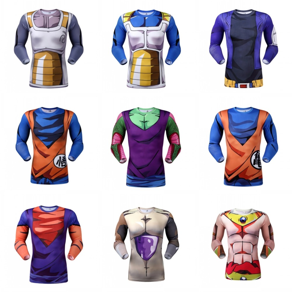 New Dragon Ball T Shirt Men 2016 Fashion Dragon Ball Design Men Slim Fit Long Sleeve 3D T Shirts sport T shirt(China (Mainland))