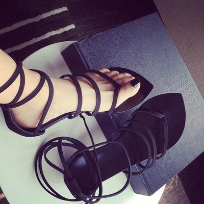 Cross straps black shoes Women Sandals 2015 Open toe Summer Style sandals New Fashion Women's Flat stock hollow - pretty house_J store